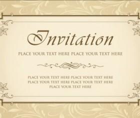 Beige vintage invitation card vector 01
