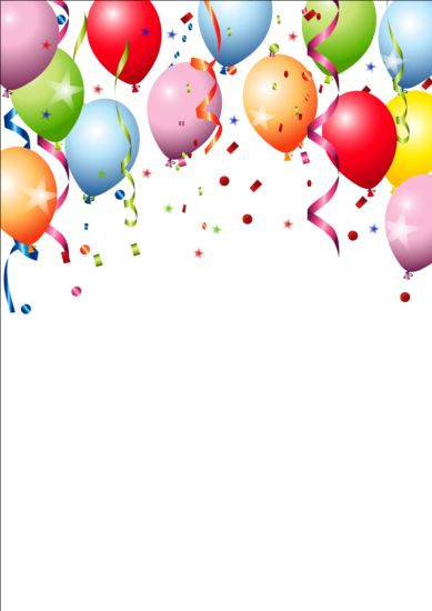 Birthday Background Colored Confetti With Balloon Vector