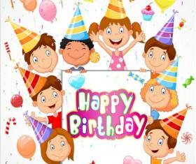 Birthday background with children vector design 02