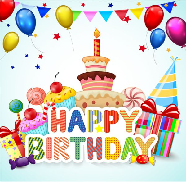 Birthday Cake With Gift Background Vector 01