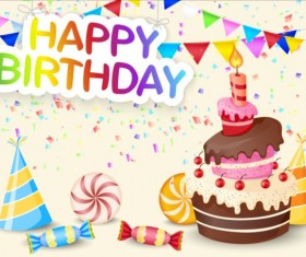 Birthday cake with gift background vector 04