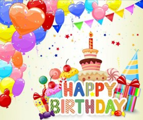 Birthday cake with gift background vector 05