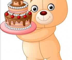 Birthday cake with teddy bear vector