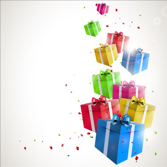 Birthday gift with confetti vector background vector background birthday gift with confetti vector background negle Images