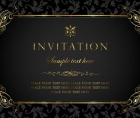 Gold vector page 18 for free download black and gold vintage style invitation card vector 01 stopboris Image collections