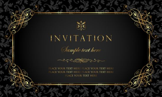 Black and gold vintage style invitation card vector 01 vector black and gold vintage style invitation card vector 01 stopboris Image collections