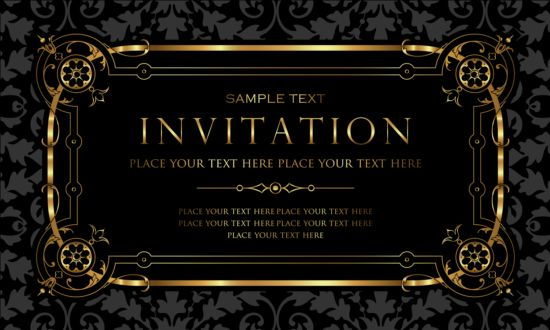 Black and gold vintage style invitation card vector 03 Vector – Black Invitation Cards