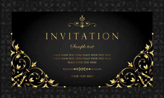 Free EPS  Black And Gold Vintage Style Invitation Card Vector 04