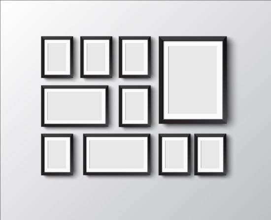 Black Photo Frame On Wall Vector Graphic 03 Free Download
