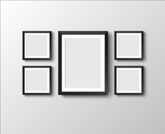 Black Photo Frame On Wall Vector Graphic 04