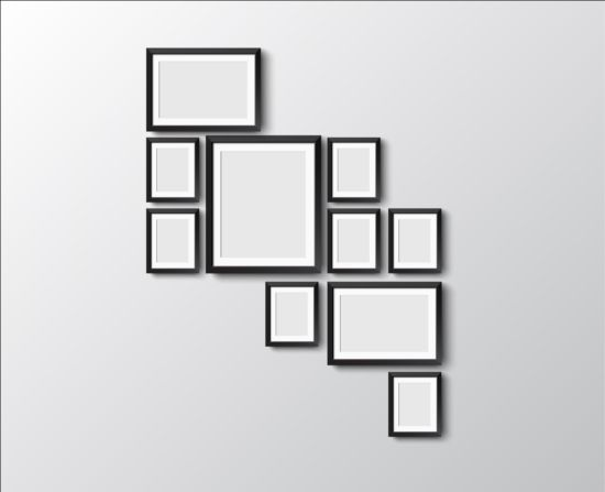 Black Photo Frame On Wall Vector Graphic 05