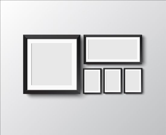 Black photo frame on wall vector graphic 07