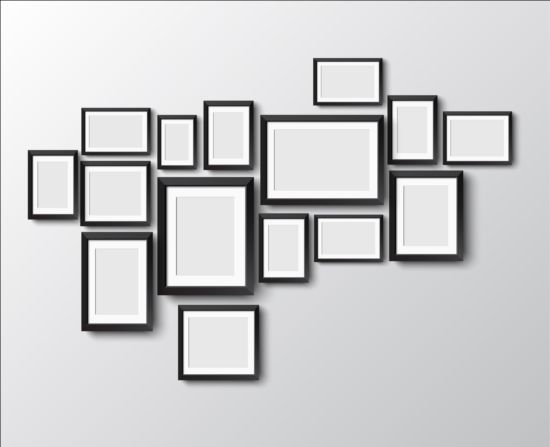 Black Photo Frame On Wall Vector Graphic 09