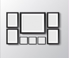 Black photo frame on wall vector graphic 10