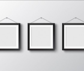 Black photo frame on wall vector graphic 11