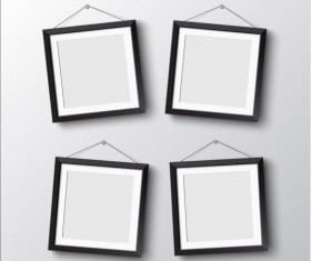 Black photo frame on wall vector graphic 12
