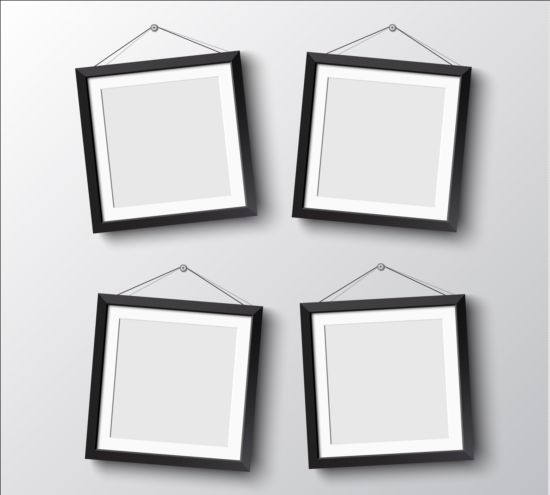 Black photo frame on wall vector graphic 12 free download