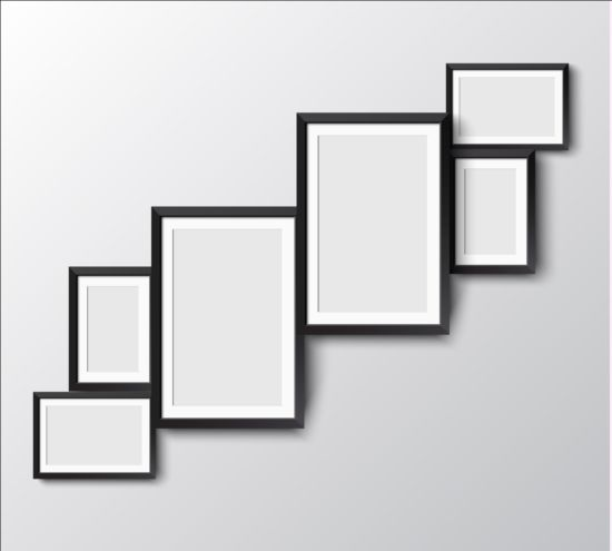 Black photo frame on wall vector graphic 13