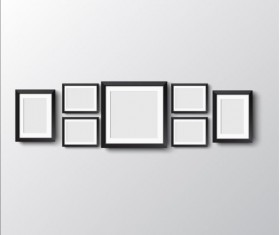 Black photo frame on wall vector graphic 14