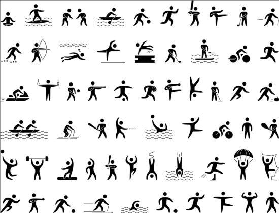 Black sport icons set 02