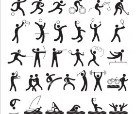 Black sport icons set 03