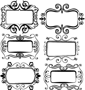 Black vintage frame set vector 01 free download