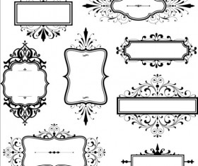 Black vintage frame set vector 03