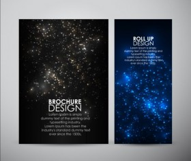 Black with blue brochure cover with star light vector