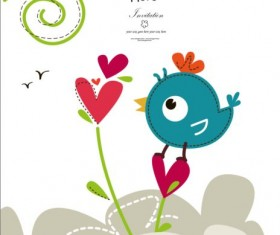 Blue bird cute card vector