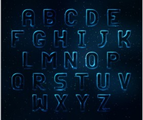 Blue light alphabet vector