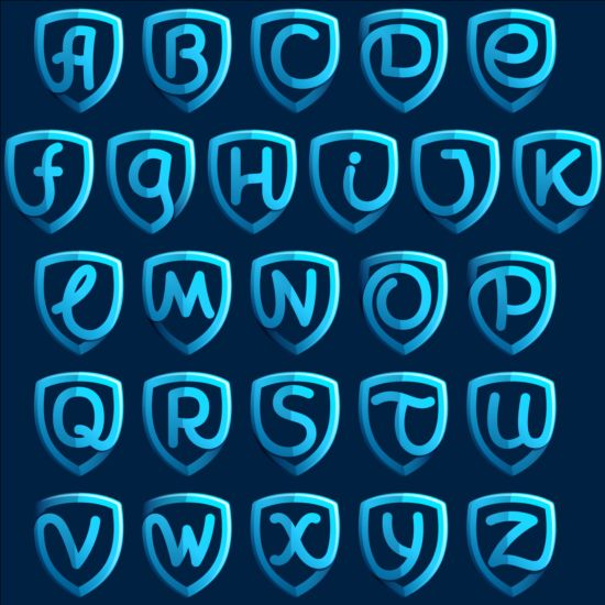 Blue shield alphabet vector
