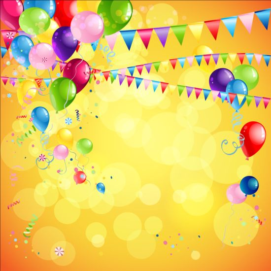 Bright Birthday Background Design Vector 01 Free Download
