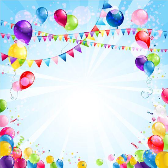 Bright Birthday Background Design Vector 02 Free Download