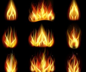 Bright fire flame illistration vectors set 03