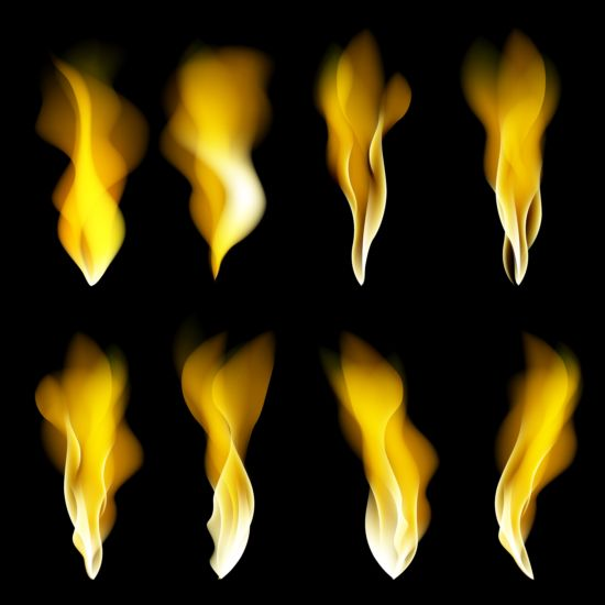 Bright fire flame illistration vectors set 04