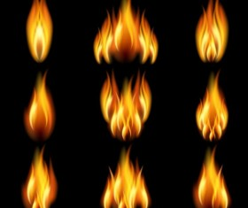 Bright fire flame illistration vectors set 05