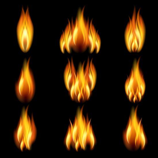 Bright fire flame illistration vectors set 05