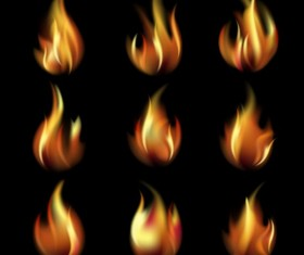 Bright fire flame illistration vectors set 07