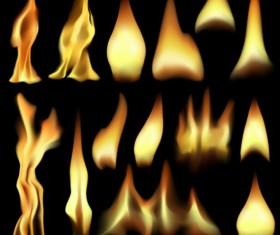 Bright fire flame illistration vectors set 08