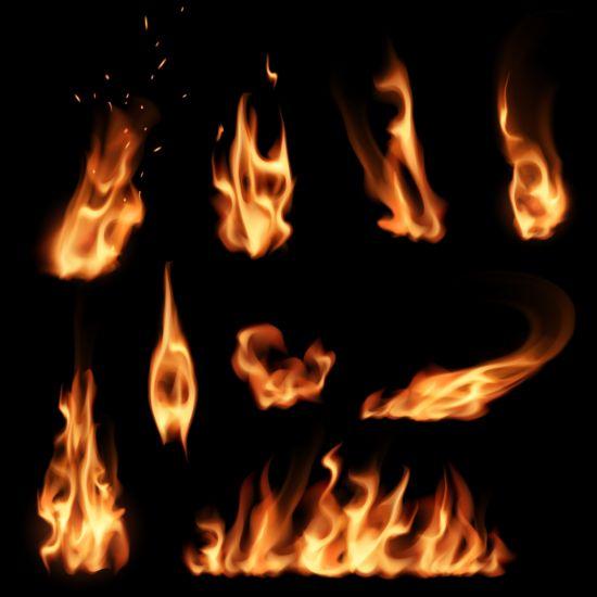 Bright fire flame illistration vectors set 09
