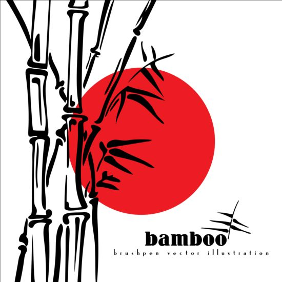 Brush pen bamboo background vector illustration 01
