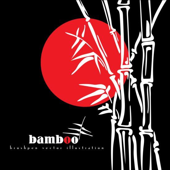 Brush pen bamboo background vector illustration 02