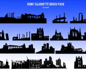 Building Ruin Silhouette PS Brush Set