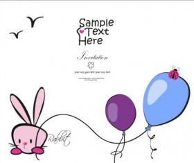 Bunny and balloons vector card