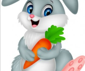 Cartoon rabbit with carrot vector