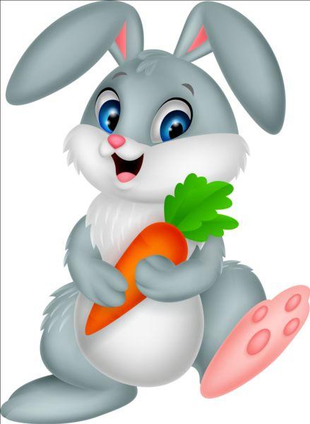 Cartoon Rabbit With Carrot Vector Vector Animal Vector