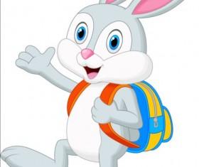 Cartoon rabbit with school bag vector