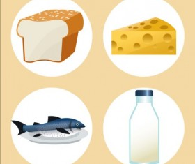 Cheese with bread and milk fish icons