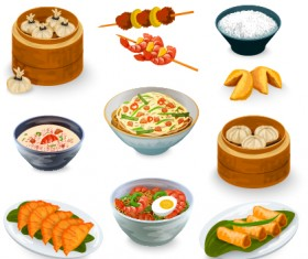 Chinese food vector material set 01