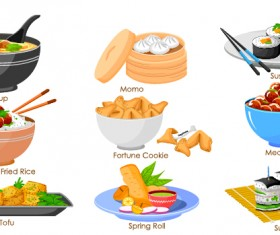Chinese food vector material set 02